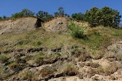 Steile Klippe auf den Stadtränden der Stadt von Saratow Stockfotografie