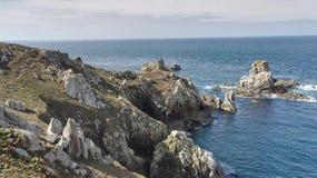 Steile kust van Finistère, dichtbij Pointe du Van, Bretagne, Frankrijk, Europa stock fotografie