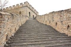 Steile stappen van de Grote Muur van China Royalty-vrije Stock Afbeeldingen