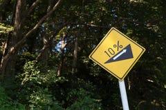Steiles Gradhügel-Verkehrszeichen Stockbilder