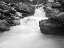 Steiles steiniges Strombett des alpinen Baches Unscharfe Wellen des Stromes laufend über Flusssteine und Steine, Hochwasserniveau Stockfoto