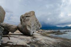 Stein auf dem Strand Stockbild