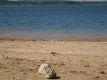 Stein auf sandigem Strand Lizenzfreie Stockbilder
