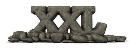 Stein beschriftet xxl auf weißem Hintergrund Lizenzfreie Stockfotografie