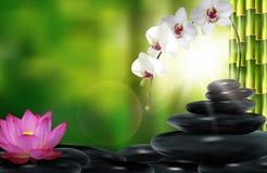 Stein-, Blumen- und Bambushintergrund Stockbilder