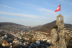 Stein Castle Ruin Overlooking Baden. This is a beautiful old castle ruin located on a hill above the town of Baden. It is a Swiss heritage of national importance Stock Images