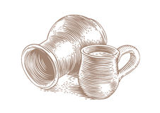 Stein and crock with milk. Drawing of a clay stein and clay crock with milk on the white Stock Images