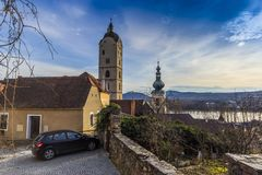 Stein an der Donau .Krems an der Donau. Federal state of Lower Austria, Wachau Valley, Austria stock image