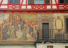 Stein-essere-Reno, Svizzera Centro città medievale Fotografie Stock Libere da Diritti