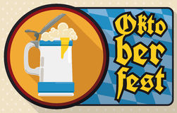 Stein with Frothy Beer to Celebrate Oktoberfest in Flat Style, Vector Illustration. Banner in flat style with round button with stein and frothy beer ready to Stock Images