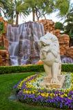 Stein geschnitzter Löwe am Trugbild, Las Vegas stockfotos