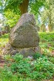 Stein am größten mennonitischen Kirchhof im Norden von Polen Stockfoto