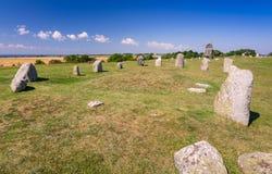 Stein-henge auf Oland-Insel Stockbilder