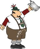 Stein man. This illustration depicts a man in lederhosen raising a beer stein in a toast Royalty Free Stock Photo
