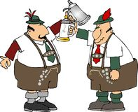 Stein men. This illustration depicts two men in lederhosen raising beer steins in a toast Royalty Free Stock Photography