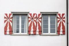 Stein am Rhein Schweiz typisk fönster Royaltyfri Bild