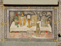 Stein-am-rhein, Switzerland. The frescoes on the buildings of the Renaissance. Stock Photography