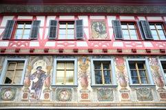 Stein am Rhein. Wonderful old wall paintings in the medieval historic center of Stein am Rhein in Switzerland Stock Photo