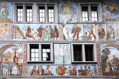 Stein am Rhein. Wonderful old wall paintings in the medieval historic center of Stein am Rhein in Switzerland The fresco was painted in  1520/1525 Stock Photography
