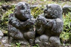 Stein-Statuen Otagi Nenbutsu-ji Lizenzfreies Stockfoto