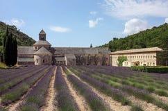 Steinabtei mit Lavendelfeld im Hinterhof Lizenzfreie Stockbilder
