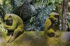 Steinaffestatue im Ubud-Affe-Wald, Bali-Insel Stockbilder