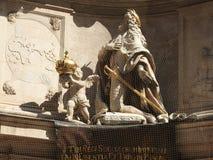 Steinarchitektur von Hausfassaden und von Monumenten, Wien, Österreich stockfoto