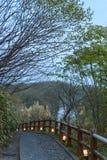 Steinbürgersteig in einem Park Stockbild