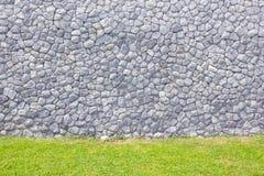 Steinbacksteinmauer mit grünem Gras Stockbild