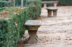 Steinbank und trocknen Blätter im Park Lizenzfreie Stockbilder