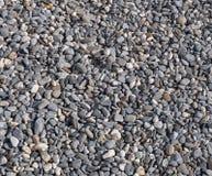 Steinbeschaffenheit - Kies von kleinen grauen und weißen runden Steinen, abstraktes Hintergrundmuster Stockfotografie