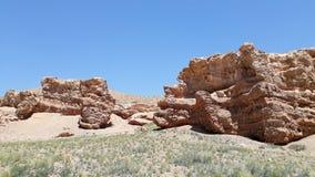 Steinbildung an Sharyn Canyon-Landschaft in Kasachstan lizenzfreie stockfotografie