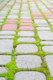 Steinblöcke mit Moos Stockfoto