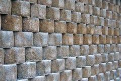 Steinblockwand-Musterbeschaffenheit Stockfotos