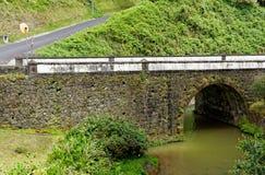 Steinbrücke über einem Fluss in Furnas lizenzfreie stockfotos