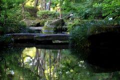 Steinbrücke im Teich Stockfoto