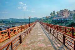 Steinbrücke in kanchanaburi Thailand, ungesehenes thail Sangkhla Buri stockfoto