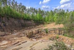 Steinbruch des Sandsteins Stockfotografie