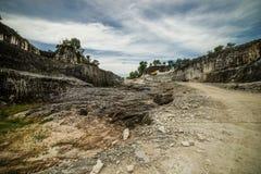 Steinbruch in Insel Goa Kapur Indonesiens Madura Stockfoto