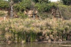 Steinbruchwiederherstellungspark mit Wasserfällen und Teich im carmiel, Israel Stockbild