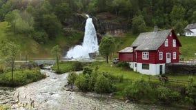 Steindalsfossen stock video footage