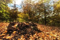 Steine auf dem Kamin und trocknen Blätter Lizenzfreies Stockbild