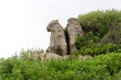 Steine auf dem Strand von Korsika Lizenzfreies Stockfoto
