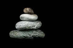 Steine auf schwarzem Hintergrund Lizenzfreies Stockbild