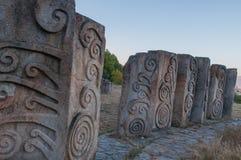 Steine bei Memorial Park Hisar in Leskovac stockbilder