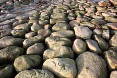 Steine beim Øresund an Kronborg-Schloss Stockfoto