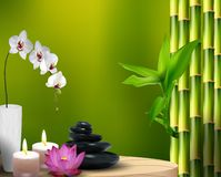 Steine, Blumen, Wachs und Bambus auf dem Tisch Stockbilder