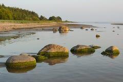 Steine an der Küstenlinie stockfotos