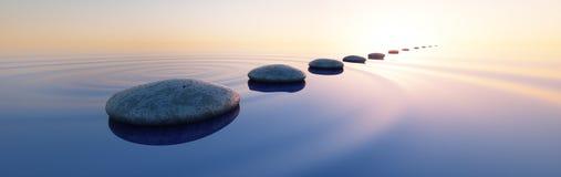 Steine in einem ruhigen See bei Sonnenuntergang lizenzfreie abbildung