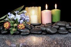 Steine mit Tropfen und Blume auf schwarzem Hintergrund Lizenzfreie Stockfotografie